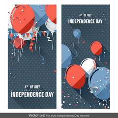 Flat style Independence Day banners