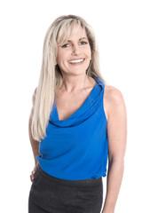 Erfolgreiche senior business Managerin in blau isoliert