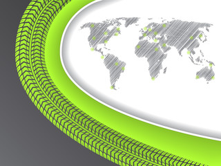 Business brochure with world map in green with tire tread