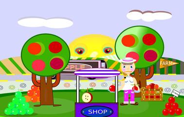Venta de manzanas en el propio campo