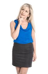 Attraktive lächelnde Geschäftsfrau isoliert blickt zur Seite