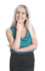 Portrait: Frau isoliert mit strahlend weißen Zähnen