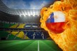 Fire surrounding chile flag football