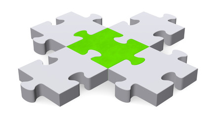3d puzzle forming intersection, green center