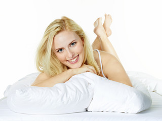 Woman awakes in the morning