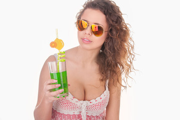 summer girl portrait with cocktail on white background