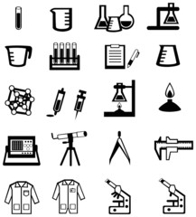 Silhouette science, chemistry, and engineering tool icon set (ve