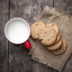 Cookies from above with milk
