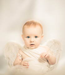 baby boy with angel wings portrait