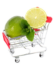 Mohito ingredients on a cart isolated