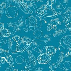 Toys sketch blue seamless pattern