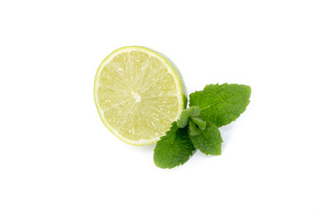 Lime slice and mint isolated