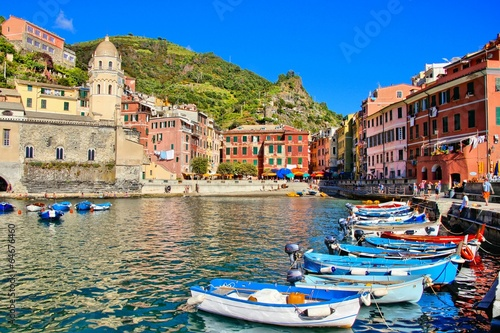Colorful harbor with boats, Vernazza, Cinque Terre, Italy - 64676460