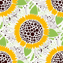 Seamless floral pattern, sunflower