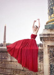 Beautiful woman in red dress, Paris, France