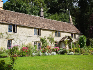 English cottage with flower garden