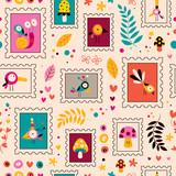 Fototapeta flowers, birds, mushrooms & snails characters nature pattern