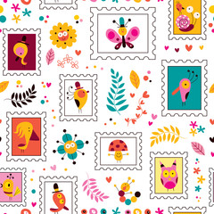 flowers, birds, mushrooms & snails cute characters pattern