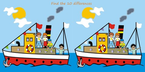 boat - find 10 differences