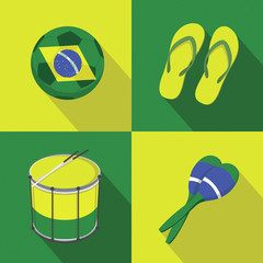 Brazil Soccer football icons flat style