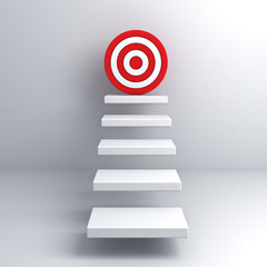 Steps to goal target business concept over white wall background