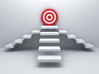 Steps up to goal target business concept over white wall