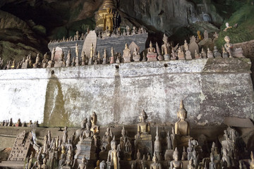 Pak Ou Caves - Buddha statues inside the lower cave