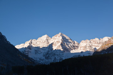 Snow Covered Mountains all around Maroon Bells