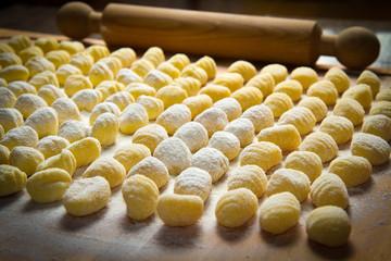 Fresh homemade potato gnocchi ready for cooking