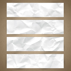 Set of horizontal banners with crumpled paper texture
