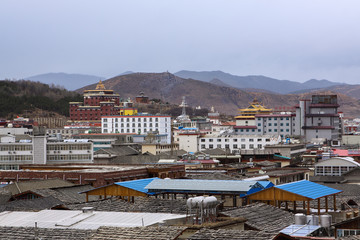 The ancient temple in Tibet style
