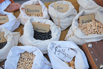 Seeds used in medieval time at the Seven Sorrows fair in Russi,