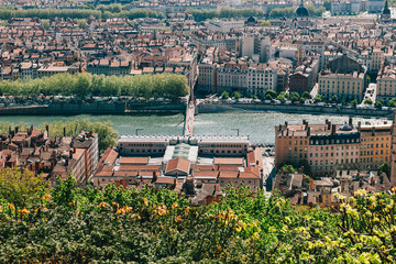Lyon skyline with Saone river as seen from Fourviere hill