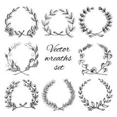 Hand drawn wreaths set