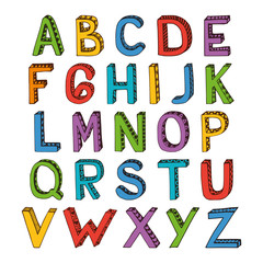 Sketch alphabet font colored