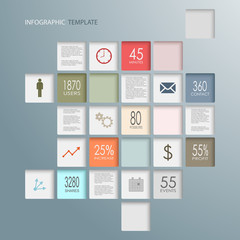 Info graphic squares web elements template
