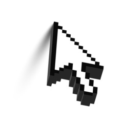 3D mouse arrow cursor with shadow. Vector.