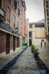 Malaga city in rain, Spain