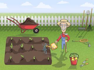 Happy gardener character at work