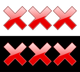 """red """"X"""" letters"""