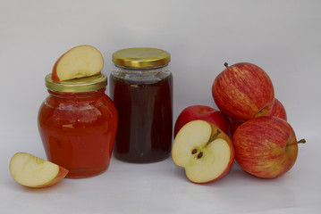 two jars of apple jelly