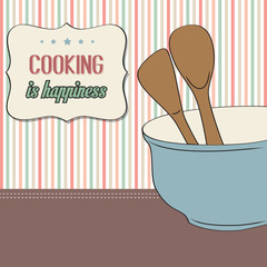background with kitchen cooking wooden utensils storage pot
