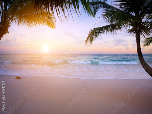 Art Beautiful sunrise over the tropical beach - 64687259