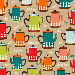 Seamless pattern with vintage Kettles