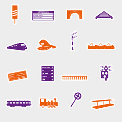 train and railway stickers eps10