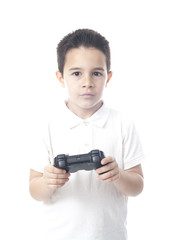 Child with game controller and deep look. Isolated on white.