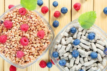 Healthy whole grain muesli and bran breakfast with fruits