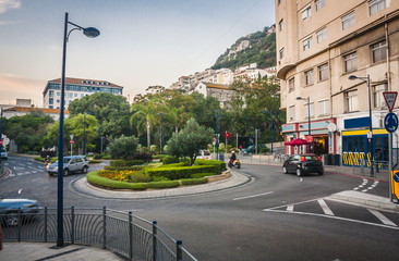 the main street in Gibraltar city,Gibraltar, UK