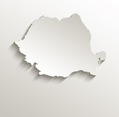 Romania map card paper 3D natural vector
