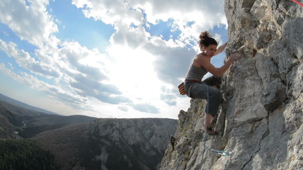 Cristina Pogacean Piolet d'or nominee climbing close up